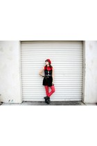red tights - boots - red beret hat - velvet circle skirt - Topshop top - top