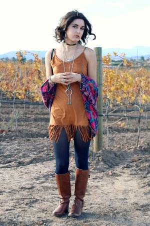 BangGood bag - camel naturalizer boots - fringe tank dress