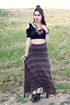 leather wrap Nakamol bracelet - striped elan skirt - top