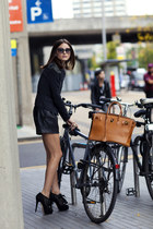 black ankle boots boots - tan birkin Hermes bag - black leather shorts shorts -