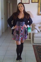 violet Wet Seal dress - black Forever 21 blazer - navy Forever 21 belt