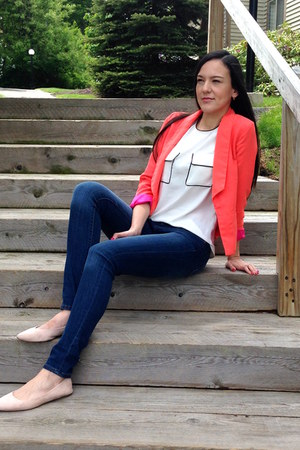 ivory H&M blouse - blue dark denim wash H&M jeans - coral JCrew blazer