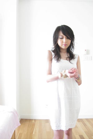 white thrifted from Mont Kiara flea market dress - silver swarovski necklace