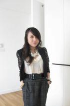 black thrifted from mont kiara flea market blazer - gray Forever 21 skirt - blac