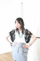 blue thrifted from Mont Kiara flea market skirt - white F block top - green thri