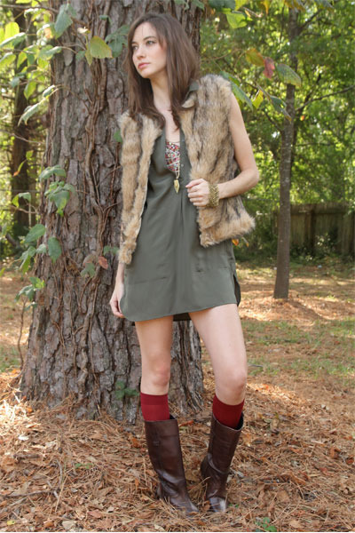 crimson leather riding Mia boots - olive green tunic BB Dakota dress