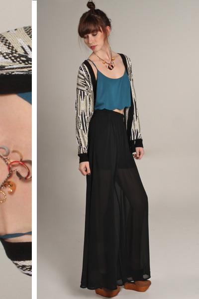 black sheer pocketed Lush pants - dark khaki alibaba printed Mink Pink cardigan