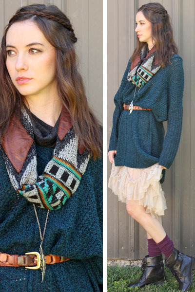 teal knit tunic free people sweater - black leather Mia boots