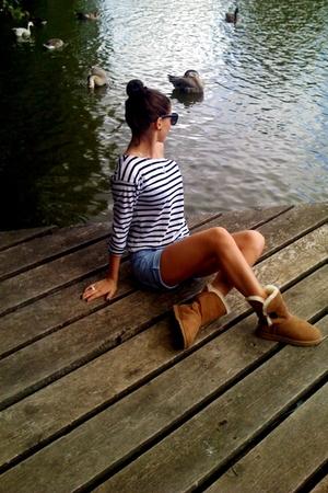 blue Zara shorts - brown Ugg boots - white H&M shirt - black H&M sunglasses