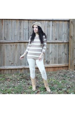 boots - beige beret Aliexpress hat - sweater