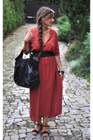 black Marc OPolo bag - brick red Zara dress - black Zara sandals