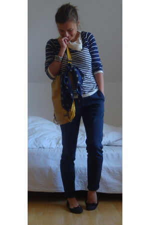 white Andy Warhol PJL cardigan - yellow mandarina duck bag - blue Zara pants - b
