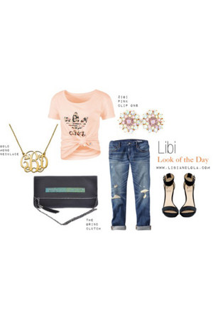 gold gold monogram Libi & Lola necklace - black Libi & Lola bag