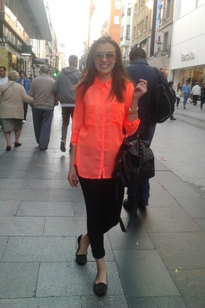 orange Pimkie blouse - black H&M jeans - black Primark bag