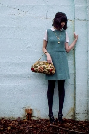 dress - blouse - necklace - purse - Jeffrey Campbell shoes