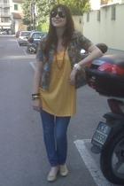 vintage shirt - Topshop jeans - vintage necklace - vintage sunglasses
