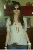 vintage sunglasses - vintage from my granny necklace - Topshop jeans - vintage j