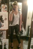 faux leather H&M pants - Aldo purse - knit vest H&M vest - pumps Zappos pumps