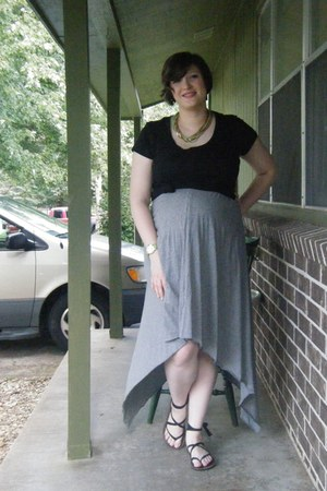 black maternity Target t-shirt - heather gray DIY dress - green Ebay necklace