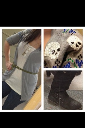 material girl cardigan - Roxy boots - citizens of humanity jeans - volcom top