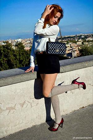 black lamb skin gold Chanel bag - ruby red Guess shoes - white H&M shirt