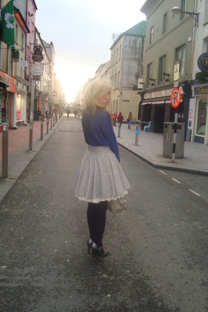full striped All Saints skirt - navy knit H&M jumper