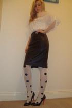 polkadot random brand tights - cream chiffon Comme des Garcons blouse