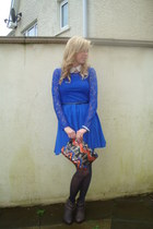 blue lace H&M dress - gray flat ankle boot River Island boots
