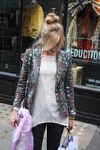 multi-coloured Zara blazer - Zara blouse - wedged Aldo sneakers