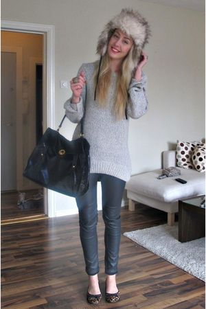 black YSL purse - gray H&M pants - beige H&M hat