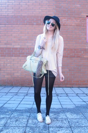 black BikBok hat - light pink just female sweater - lime green balenciaga purse