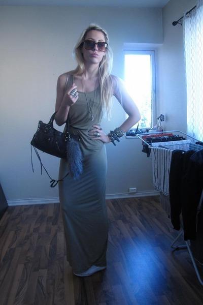 black balenciaga purse - green H&M dress - white Converse shoes