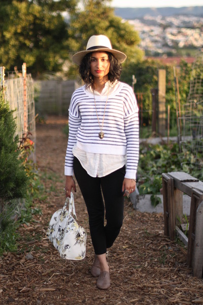 H&M hat - striped H&M sweater - asos bag - 7 for all mankind pants
