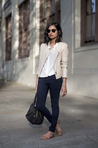 kamari leather Joie jacket - ankle legging AG jeans - everlane shirt