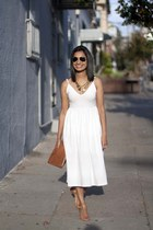 tassel Anthropologie necklace - Nasty Gal dress - Clare Vivier bag