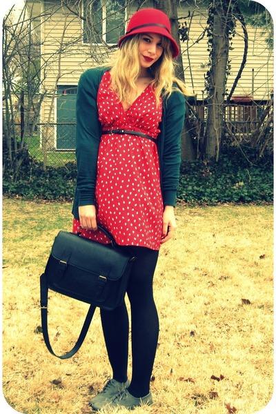diamond print Urban Outfitters dress - oxfords BDG shoes - cloche TJ Max hat