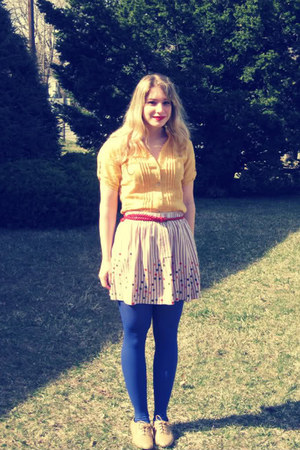 tan oxfords Forever 21 shoes - mustard Mandee shirt - blue tights - red braided