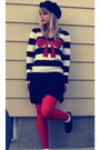 Black-oxfords-thrifted-shoes-black-knit-beret-h-m-hat-ruby-red-striped-bow-f