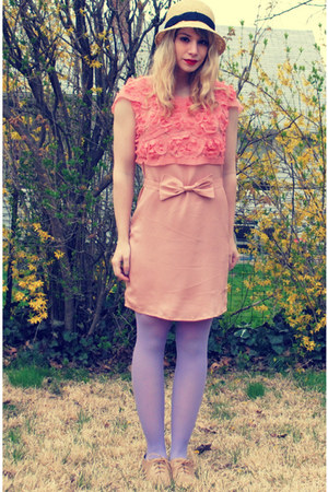 beige oxfords Forever 21 shoes - light pink modcloth dress - light yellow straw