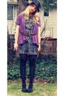 Gray-forever-21-dress-black-straw-all-saints-hat-purple-delias-cardigan-da
