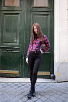 black zipia boots - red H&M shirt - black zipia pants - black Topman accessories