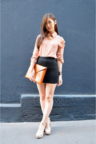 peach zipia shirt - black lace H&M skirt