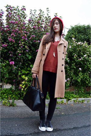 tan H&M coat - red zipia hat - black Converse sneakers