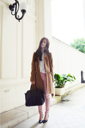 light brown H&M coat - white Pull & Bear shirt - pink zipia pants