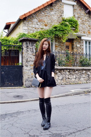black stuart weitzman boots - black H&M blazer