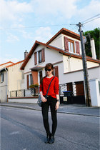 red cable knit Sheinsidecom sweater