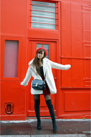 black Topshop boots - white faux fur asos coat