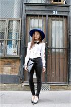 navy asos hat - black zipia heels