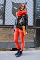 red zipia pants - blue Minelli boots - black H&M jacket - black zipia t-shirt
