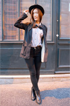 heather gray H&M shirt - black zipia boots - black vintage hat